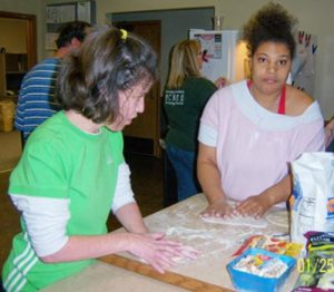Brooke and Amanda do some cooking at CLS