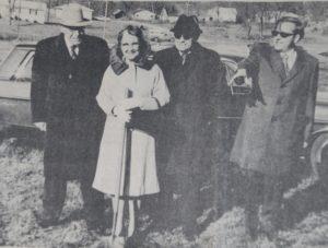 Ground breaking for Ruth Jensen Village From left: Frank Ackermann of St. Louis, Mrs. Ruth Jensen, Russell Armentrout, and Carr Woods.